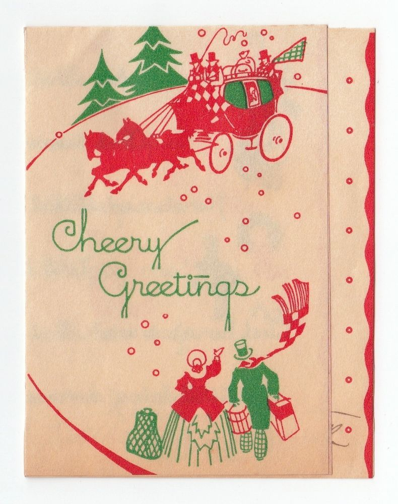 Vintage Christmas Card Deco Old Fashioned People Stagecoach Cheery