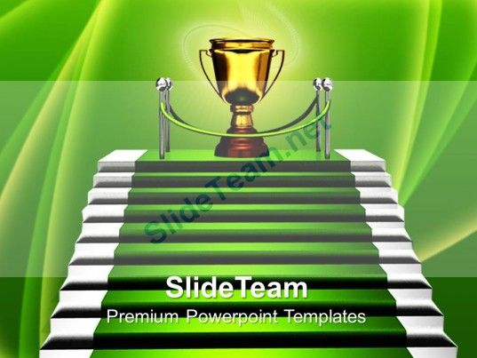 Business Strategy Game Templates Stairs With Trophy Success Company Ppt Powerpoint PowerPoint Themes Background