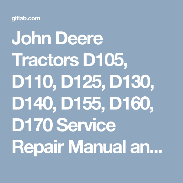 john deere d130 service manual replacement