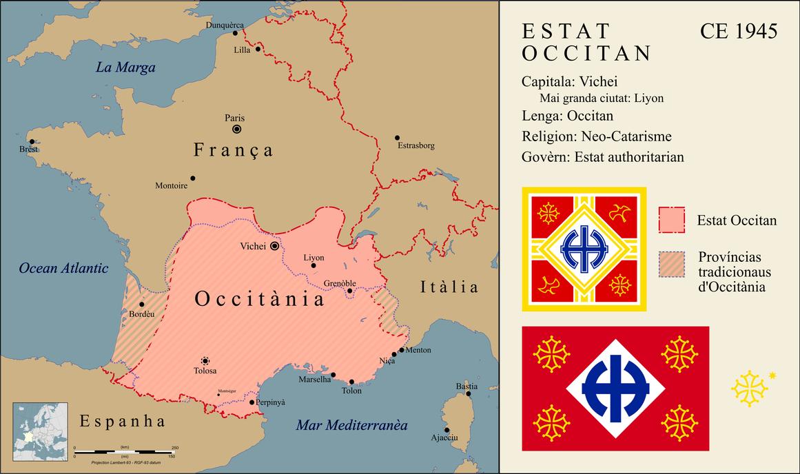 Ah Vichy Occitania By Gouachevalier Map Alternate History Imaginary Maps