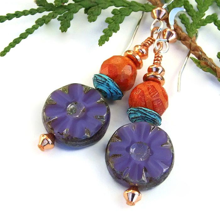 """The colorful """"Purple Posies"""" #handmade artisan #earrings were created with #purple silk Czech glass #flowers with a rustic Picasso finish, faceted orange sponge coral, turquoise patina Mykonos bead caps, copper and sterling silver - fun dangle earrings! @ShadowDog #ShadowDogDesigns #Indiemade - $20.00 - #ButterflysPin"""