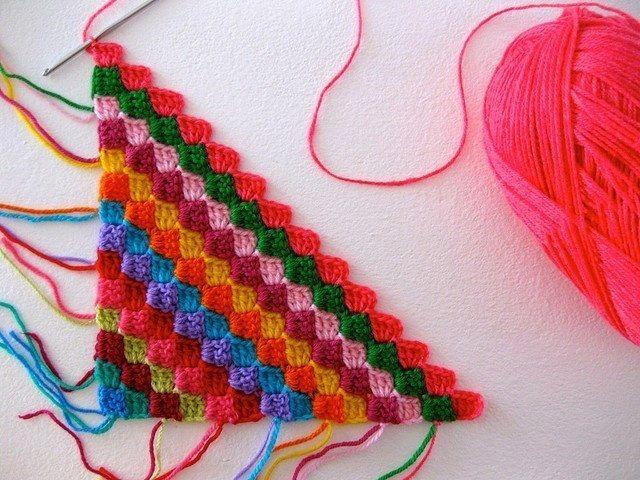 Renkli Tığ İşi Örgü Örneği   Hobilendik.net   battaniye   Pinterest ...