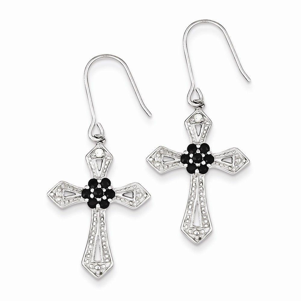 Sterling Silver Diamond Accent Cross Earrings Attributes Polished;sterling  Silver;cz;shepherd Hook
