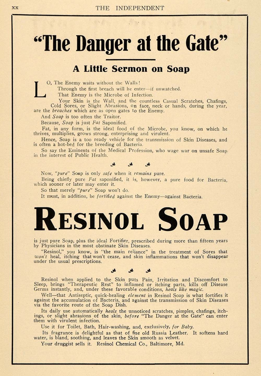 1911 Ad. Resinol Soap. The Danger at the Gate. Skin Care.