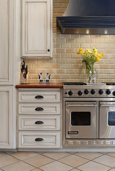 antique white cabinets butcher block counter top sandstone subway tile home kitchen remodel. Black Bedroom Furniture Sets. Home Design Ideas