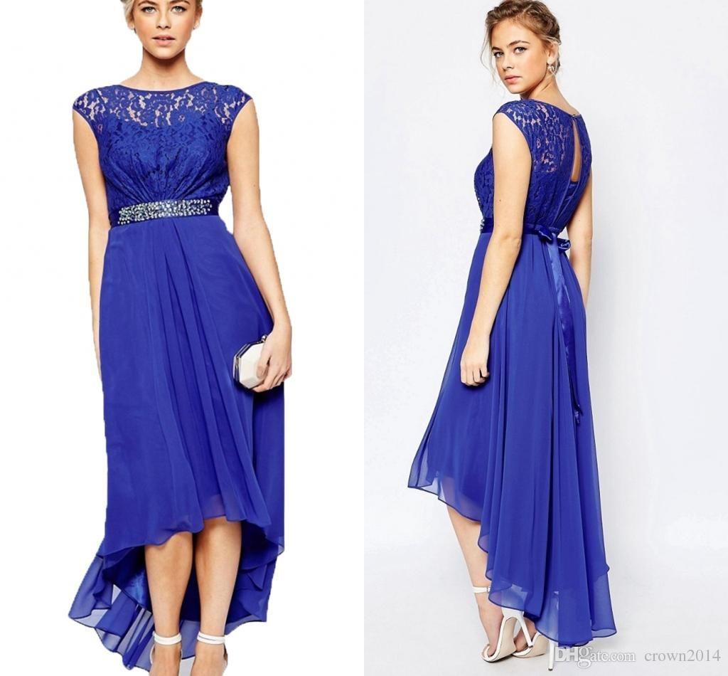 Blue Lace Chiffon High Low Formal Maxi Evening Dress 2016 ...