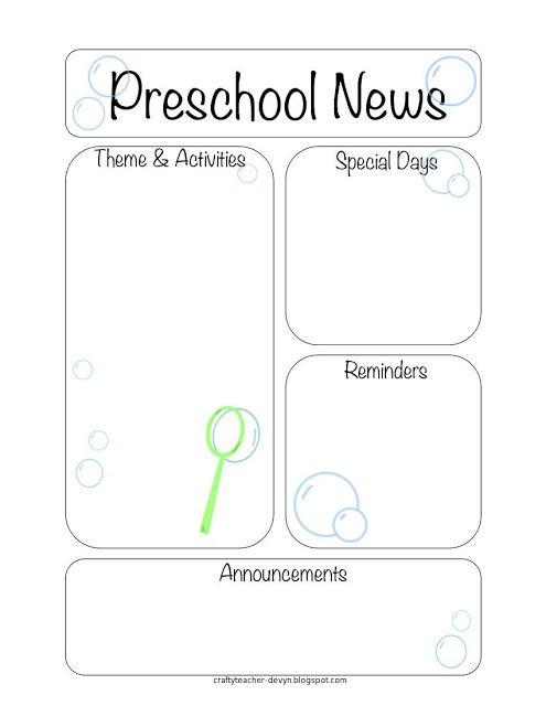 The Crafty Teacher Bubble Themed Preschool Newsletter  Teaching