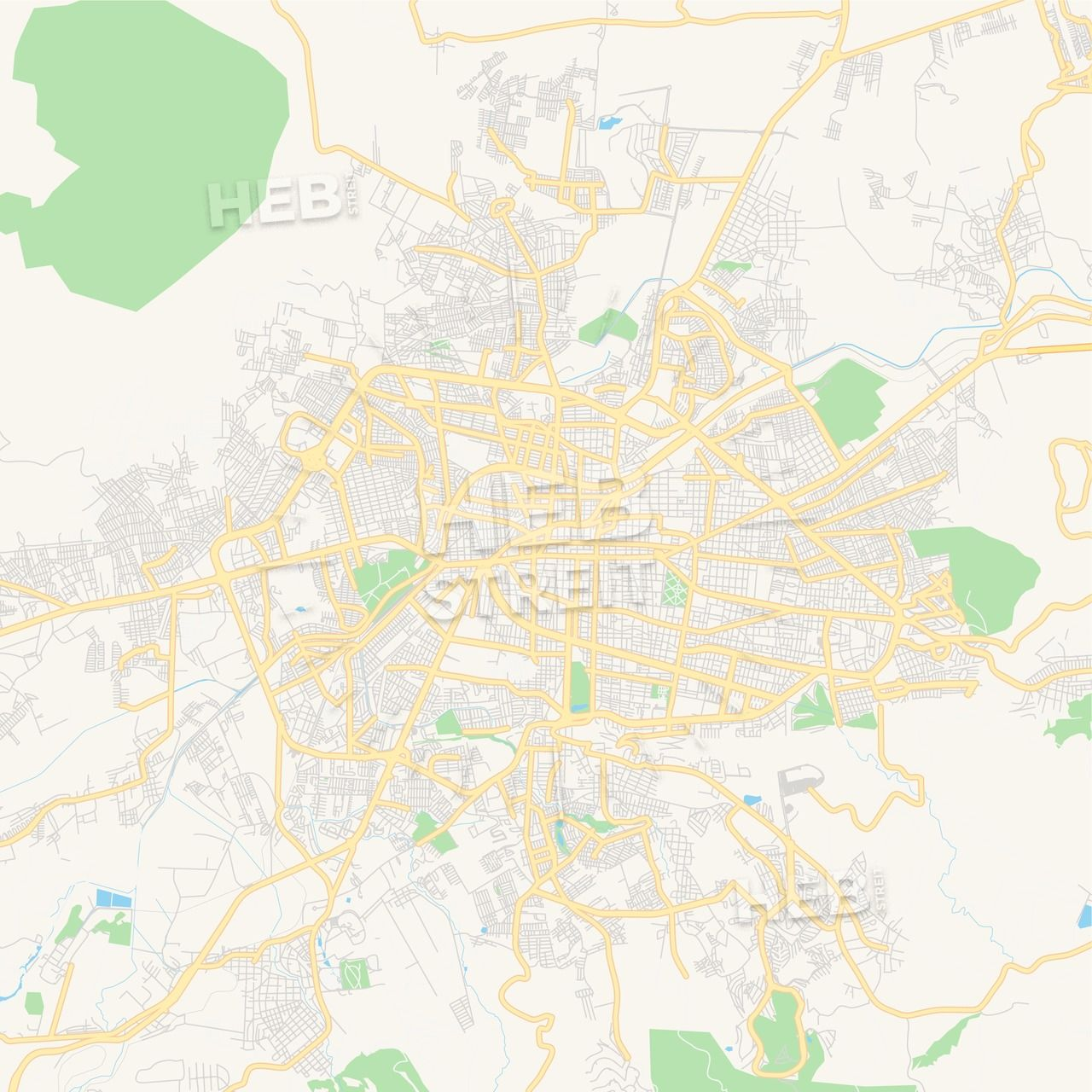 Empty vector map of Morelia, Michoacán, Mexico | Maps Vector ...