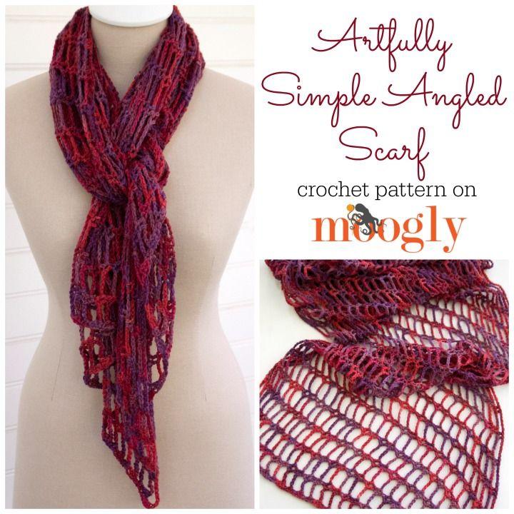 Artfully Simple Angled Scarf | Pinterest | Patrón de ganchillo ...