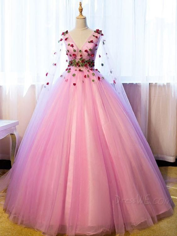 Prom Dress Plus Size, VNeck Long Sleeves Flowers Ball Gown FloorLength Quinceanera Dress - Cheap quinceanera dresses, Quince dresses, Gowns dresses, Elegant dresses, Long sleeve quinceanera dresses, Quincenera dresses - Prom Dress Plus Size, VNeck Long Sleeves Flowers Ball Gown FloorLength Quinceanera Dress, Find your dream prom dresses which has a sparkling collection of cheap prom dresses  Prom dresses 2020with affordable price are provided, you can even get the prom dresses under $100, great choice for you  Plus size prom dresses and short prom dresses in all kinds of design and colors are on hot selling now!