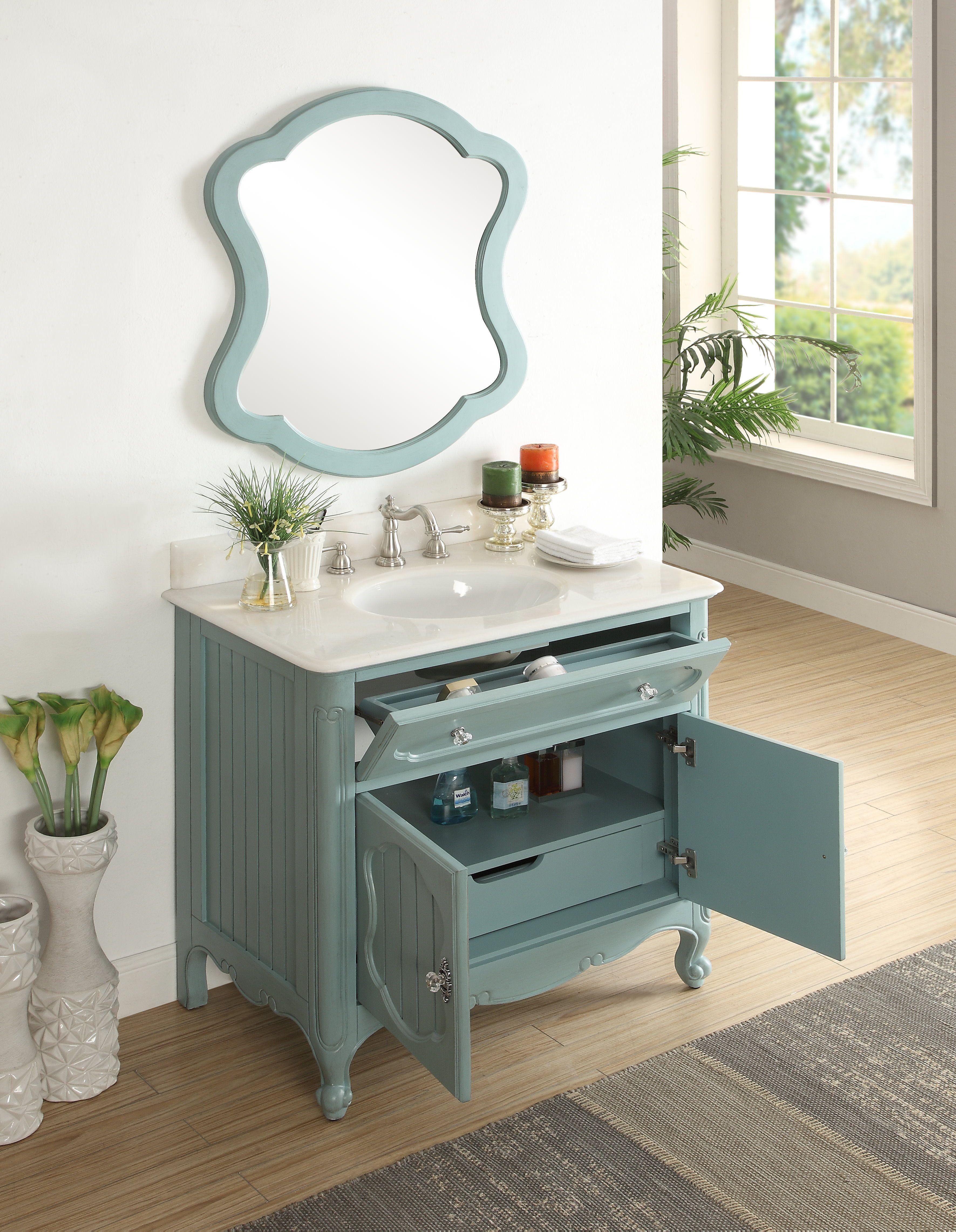 34 Benton Collection Victorian Cottage Style Knoxville Bathroom Vanity With Mirror Gd 1533bu Mir Shabby Chic Bathroom Bathroom Sink Decor Small Bathroom Decor [ 4565 x 3543 Pixel ]