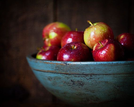Red Apples in an antique Teal Bowl