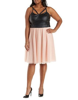 Plus Size Faux Leather & Tulle Dress: Charlotte Russe