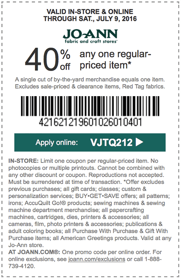 Jo Ann Fabric Coupons Find A Jo Ann Coupon Jo Ann 40 Off At