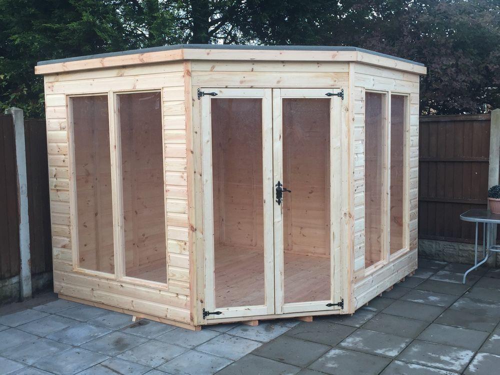 7x7 tg corner summer house modern wooden garden shed log cabin - Corner Garden Sheds 7x7