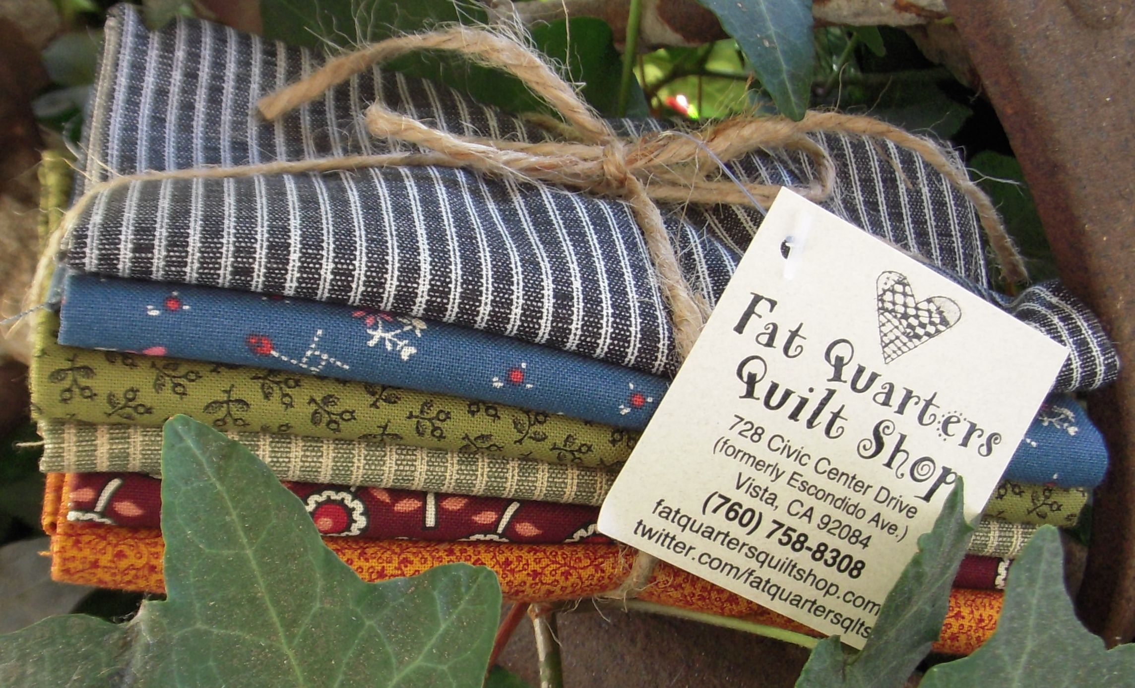 NEW Cheri's Picks... we are so very lucky to have the wonderfully imaginative & talented Cheri Payne frequent our quilt shop. And when Cheri shops we pay close attention... here is a fat quarter bundle of the fabrics Cheri selected when she was in the shop last Thursday... YOU know you will want to have these when you see what Cheri created using them ;-) 6 fat quarters... bundle price $18.00 :) when will we see YOU at the shop?
