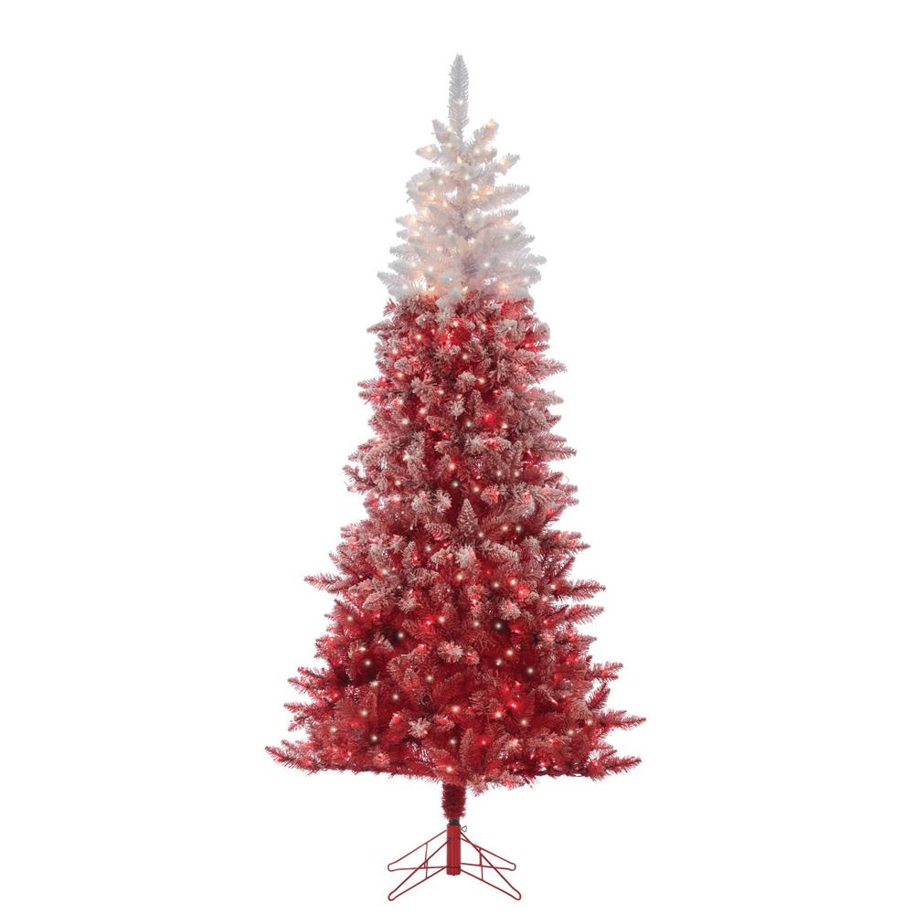 Sterling 7 5 Ft Flocked Red Ombre Artificial Christmas Tree With 500 Clear Lights Mu Pre Lit Christmas Tree Flocked Christmas Trees Artificial Christmas Tree