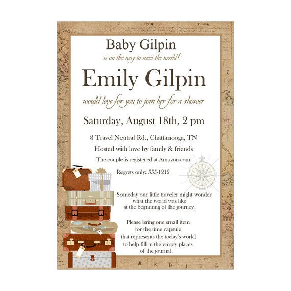 Personalized Gender Neutral Travel Baby Shower Invitations Time Capsule by HeadsUpGirls