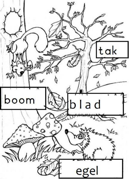 Herfst stempelen kleuren igel black white for Angebote kindergarten herbst
