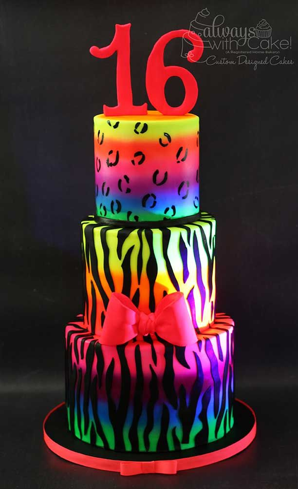 Admirable Glow In The Dark Animal Print Cake Girly Birthday Cakes Animal Funny Birthday Cards Online Alyptdamsfinfo