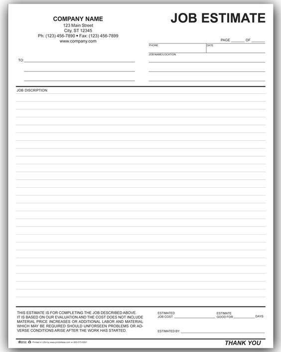 Free Contractor Estimate Forms Estimate Template Templates