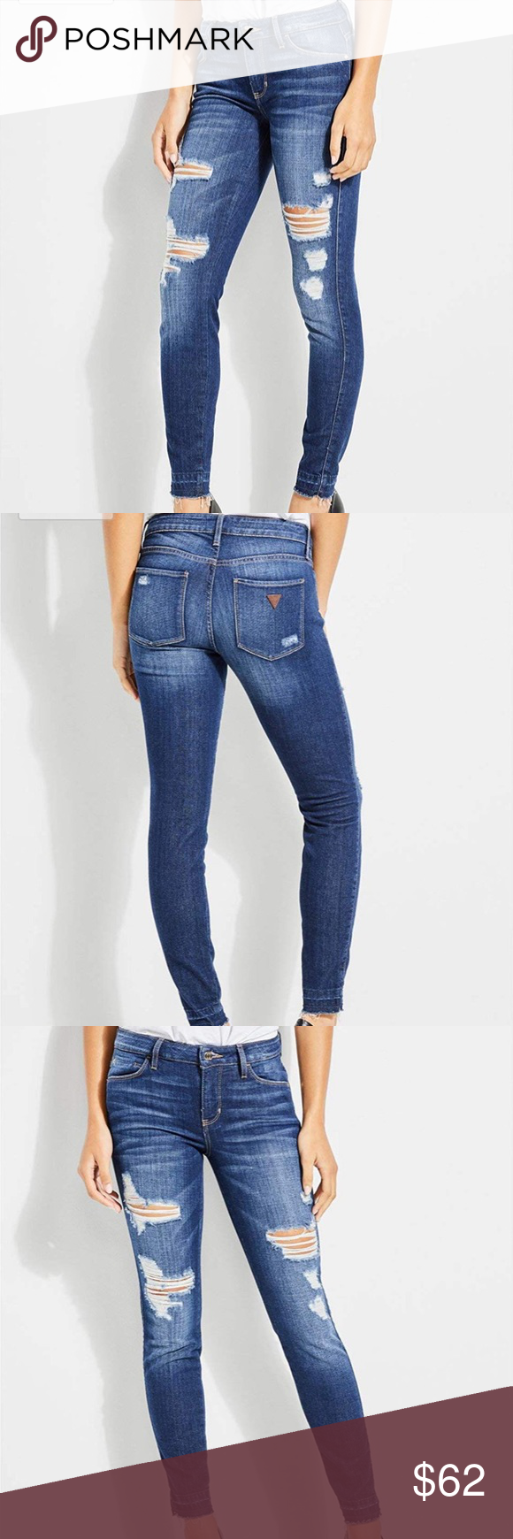 83cd0371908f GUESS New w Tag - Sexy Curve Distressed Denim A second-skin fit elevate  these