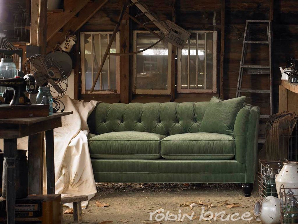 Rustic Barn Find Stevens Sofa In Green Velvet By Robin Bruce