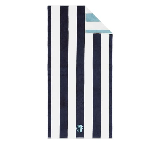 Reversible Awning Striped Beach Towel Navy Seabreeze Pool Towels Organic Beach Towel Striped Beach Towel