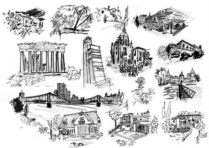 Mappe Architektur Skizzen Tusche