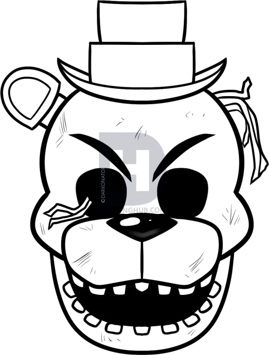 Freddy Coloring Pages Golden Sketch Coloring Page   Fnaf ...