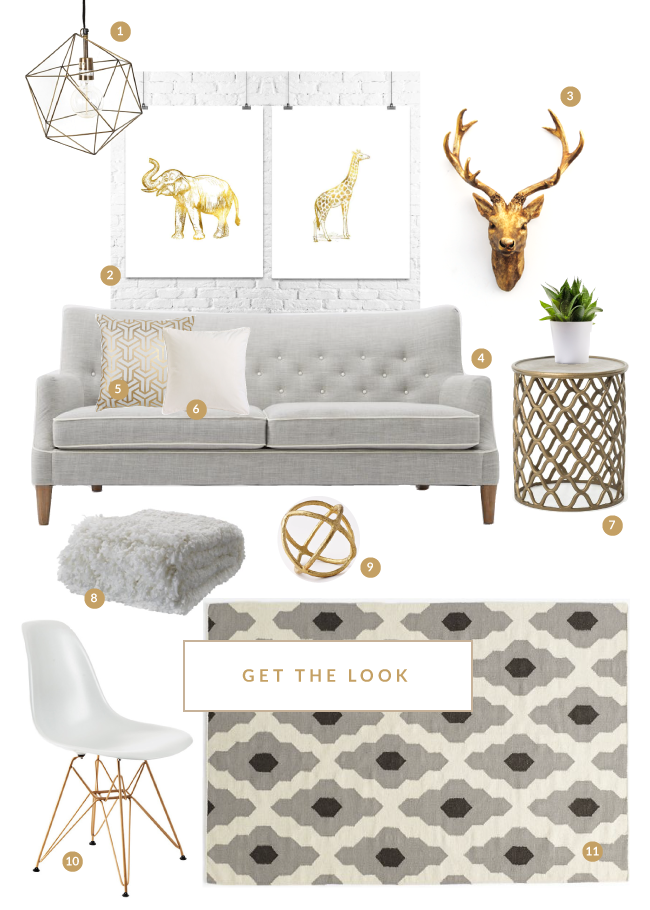 love the grey white and gold combo for the home
