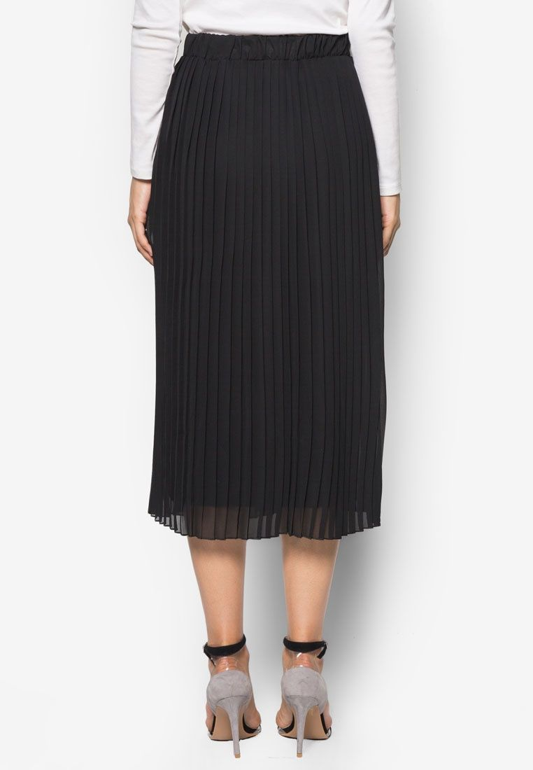 Buy Dorothy Perkins Black Knife Pleat Midi Skirt | ZALORA ...