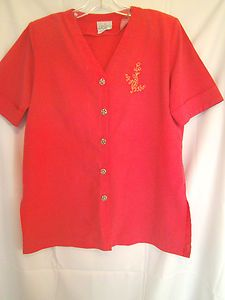 Park Place Coral Short Cuffed Sleeve Top Size Small V Neck with Gold Button only $11.00