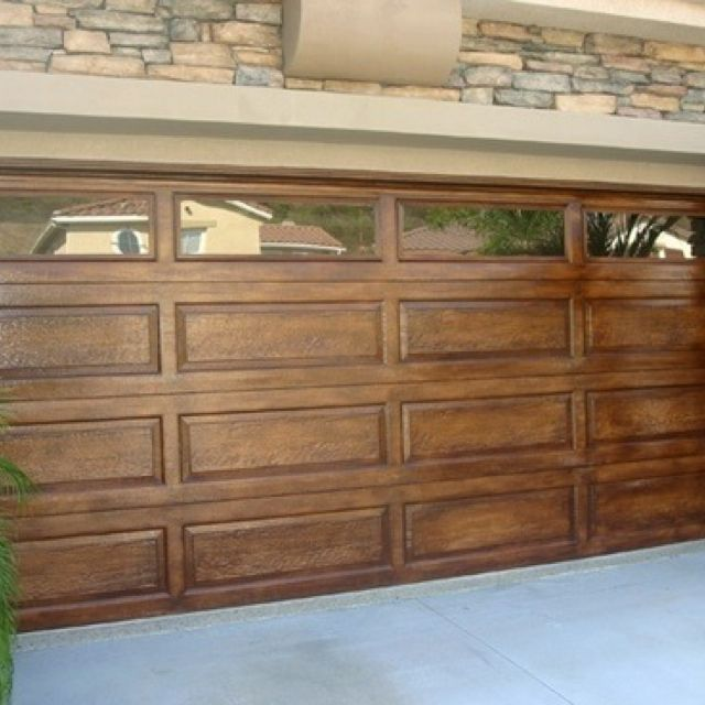 Metal Garage Door Painted To Look Like Wood Dream Home Ideas