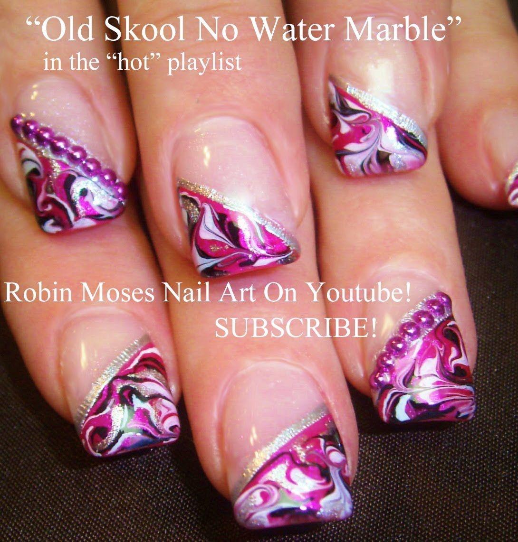 Diagonal No Water Marble Technique | robin moses nail art videos ...