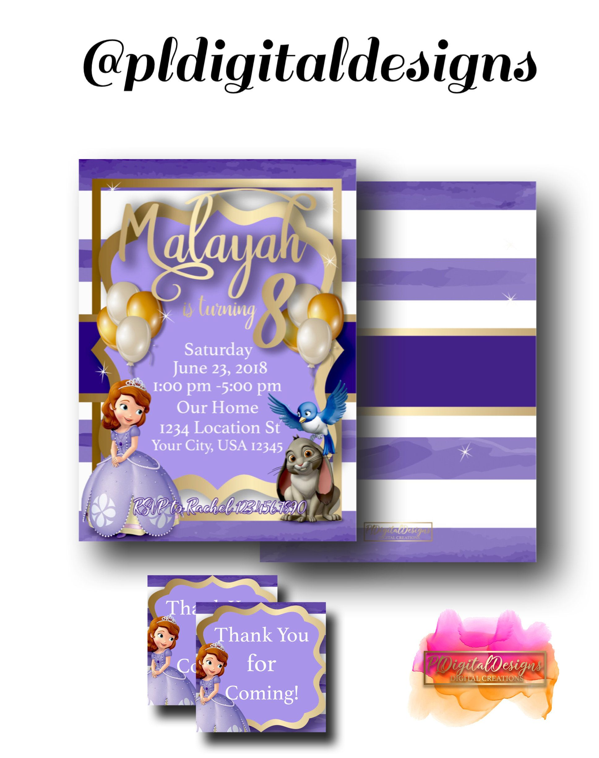 Sophia The First Invitation Digital Printable Free Thank You