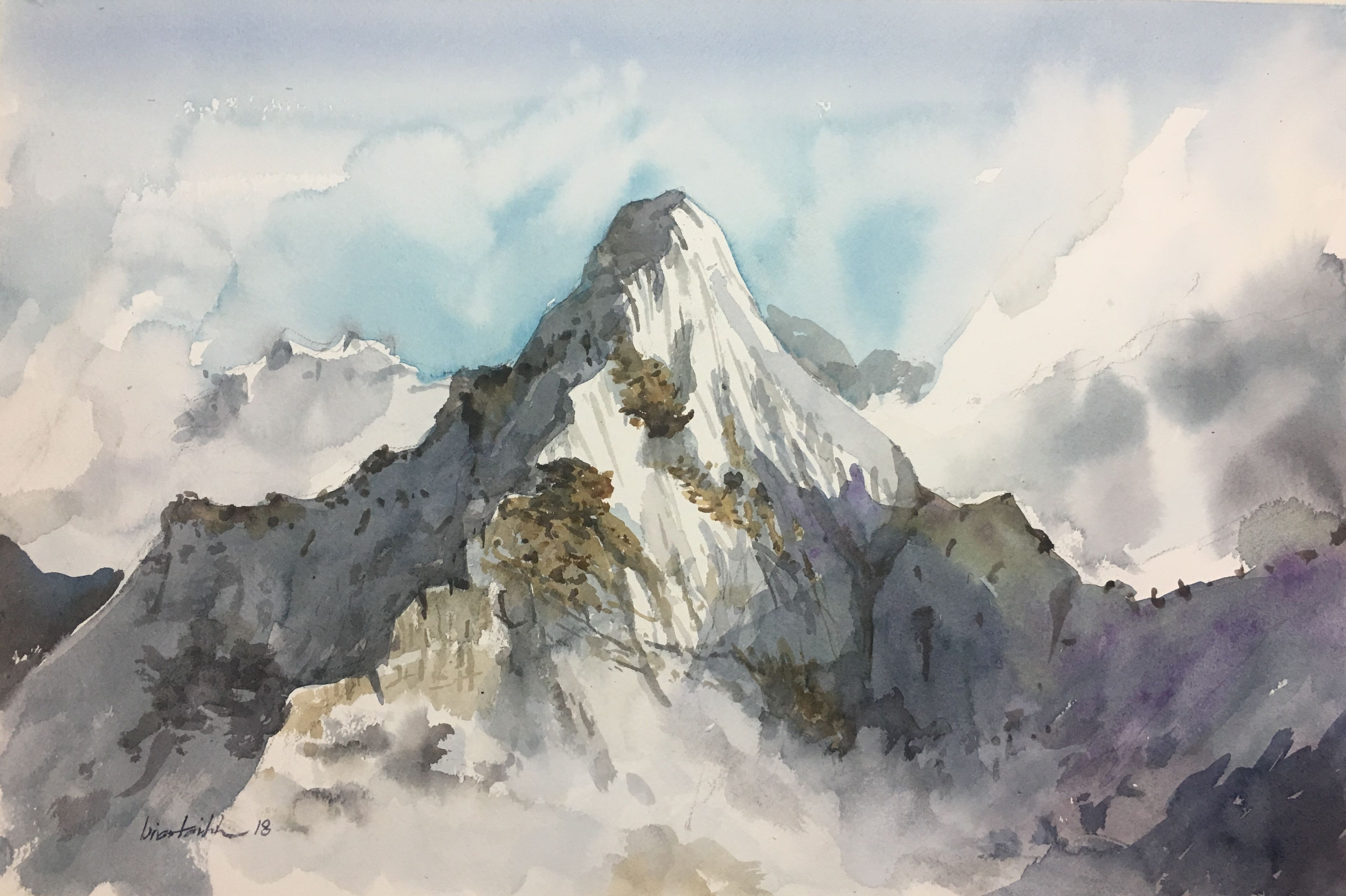 9x12 ORIGINAL WATERCOLOR abstract mountains Arches cold press paper 140lb