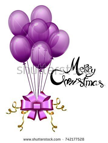 Balloon purple with magenta bow and gold ribbon for Merry Christmas ...