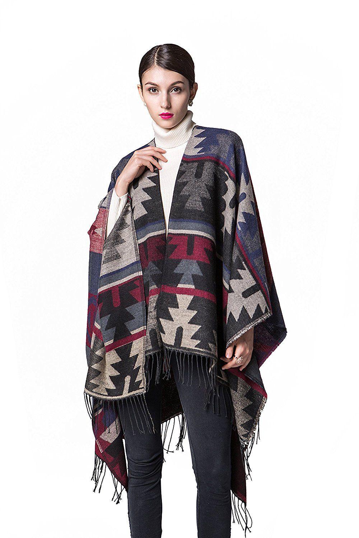 Plus size flannel shirt dress  Plus Size Knitted Poncho Sweater Shawls Wraps Cape Ruana Coat Blue