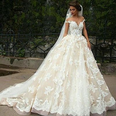 Elegant Off Shoulder Princess Lace Bridal Ball Gown Cinderella Wedding Dress