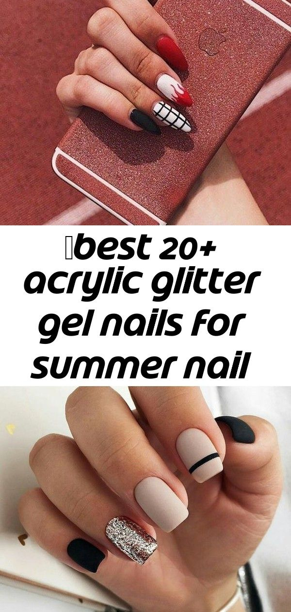 ✔best 20+ acryl glitter gelnagels voor zomer nagellakontwerpen 7