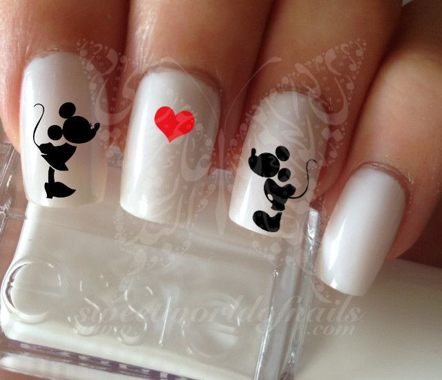 Disney Nail Art Mickey Minnie Mouse Nail Water Decals | Uñas ...