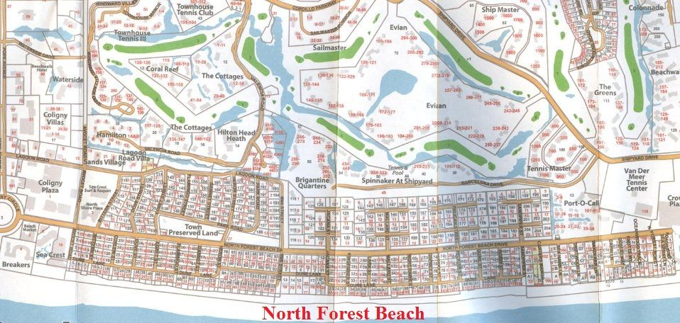 Map Of North Forest Beach On Hilton Head Island Sc