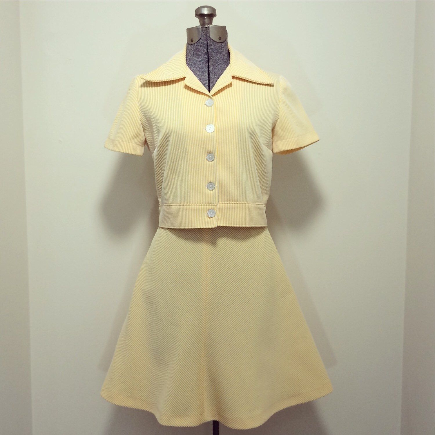 A personal favorite from my Etsy shop https://www.etsy.com/listing/224985553/vintage-70s-skirt-and-blouse-set-yellow