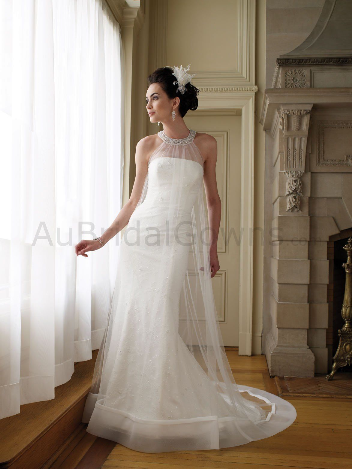 halter top wedding dresses organza cage gown tulle gathered high neck halter