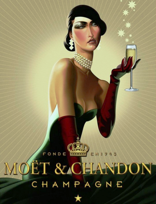 Z Woman W Champagne Moet Chandon Ad Art Deco Posters Wine Poster Vintage Advertising Posters