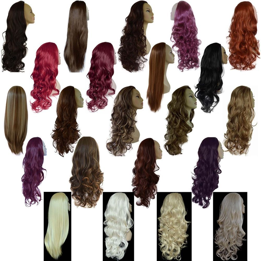 Ladies 34 Wig Fall Clip In Hair Piece Extension Half 3 Styles25