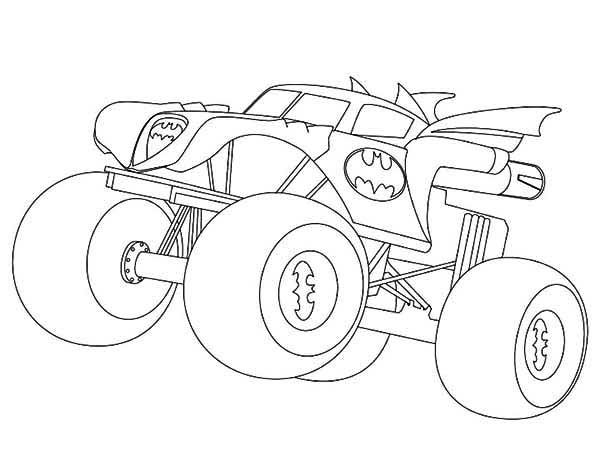 Batman Monster Truck Coloring Page Kids Play Color Monster