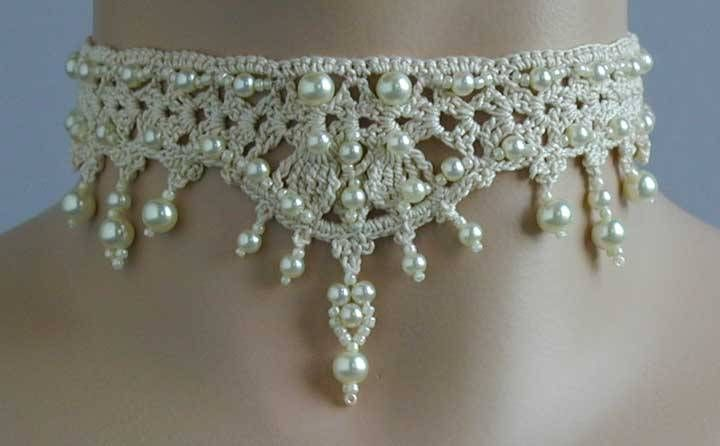 Cream Cotton Black Lace The Victorian Collection Victorian Lace Choker Crochet White Lace