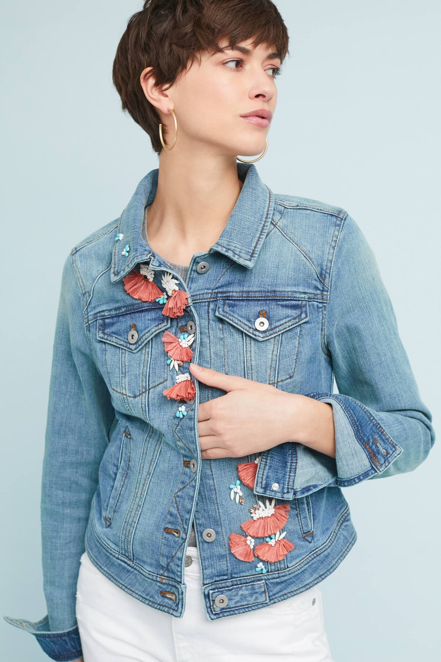 d9ec15288711 Shop the Pilcro Embellished Denim Jacket and more Anthropologie at  Anthropologie today. Read customer reviews